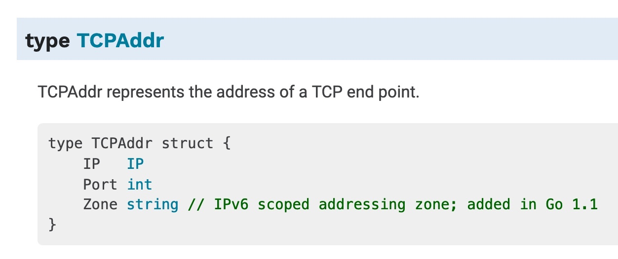 docs showing that port is variable in the TCPAddr struct